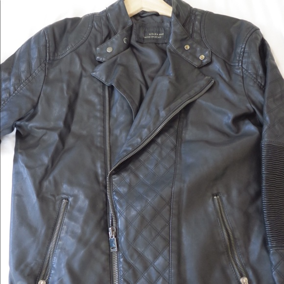 85658421 Zara Jackets & Coats   Man Faux Leather Biker Jacket Size M   Poshmark